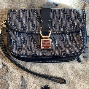 Dooney and Bourke navy and gray wristlet